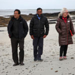 Shahaduz Zaman, Hamilton Inbadas and Lynne Collinson on the island of Shapinsay, Scotland