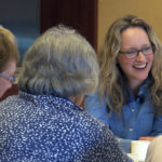 Dr Naomi Richards at a death cafe with Age Scotland members