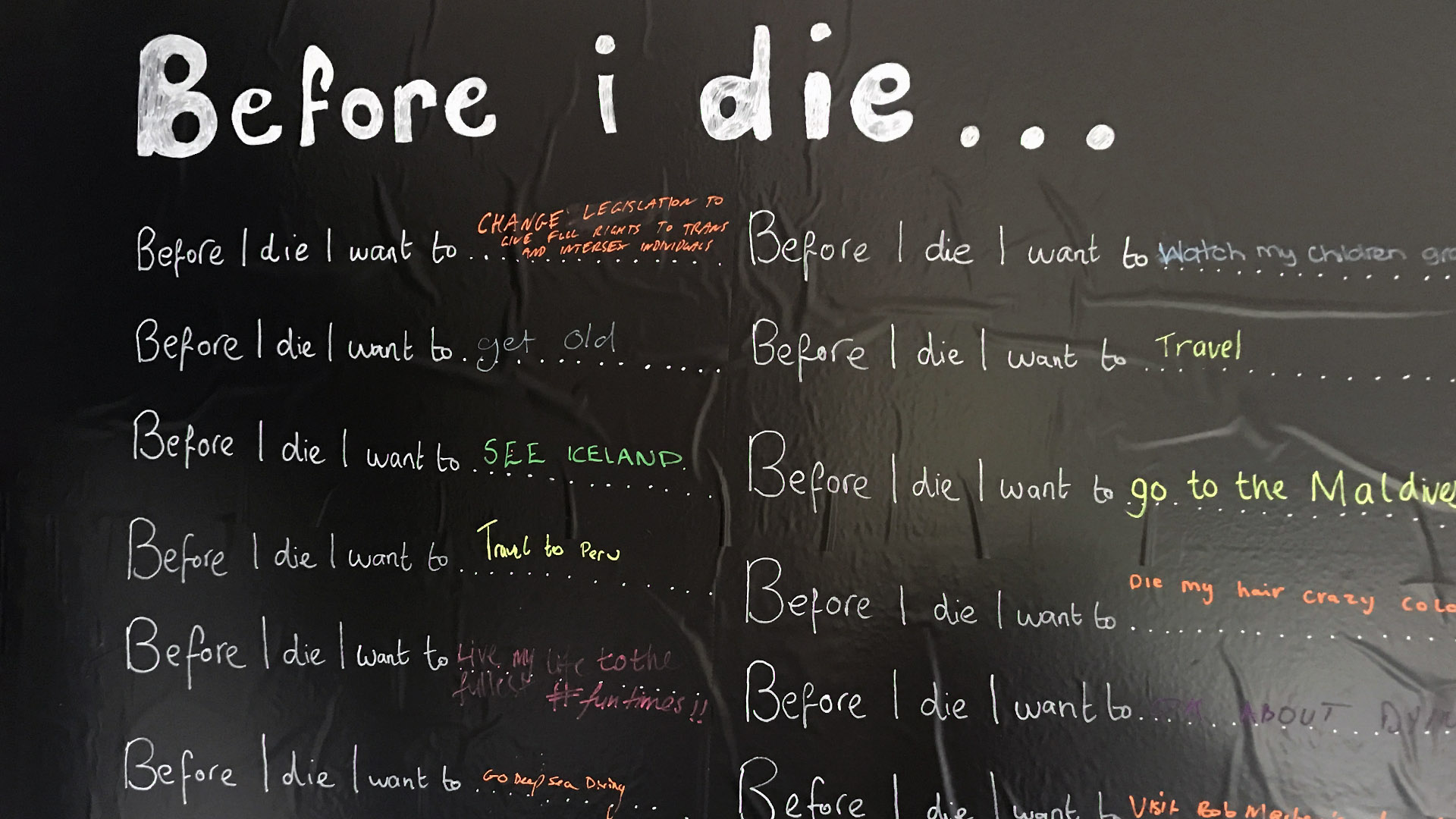 'before I die' blackboard